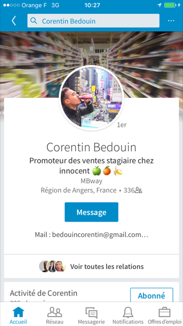 Photo de couverture LinkedIn de Corentin Bedouin sur smartphone