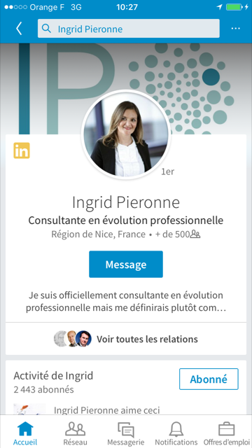 Photo de couverture du profil LinkedIn d'Ingrid Pieronne sur smartphone