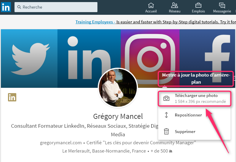 Format de la photo de couverture sur LinkedIn