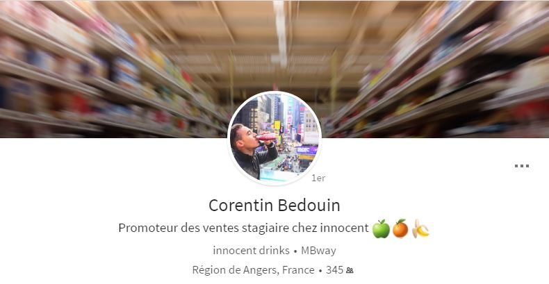 Photo de couverture du profil LinkedIn de Corentin Bedouin sur ordinateur