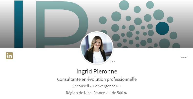 Photo de couverture du profil LinkedIn d'Ingrid Pieronne sur ordinateur